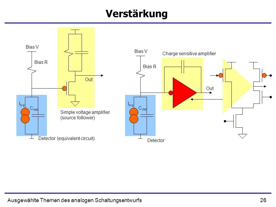 26Ausgewählte Themen des analogen Schaltungsentwurfs Detector Detector (equivalent circuit) Simple voltage amplifier (source follower) Bias R Bias V O
