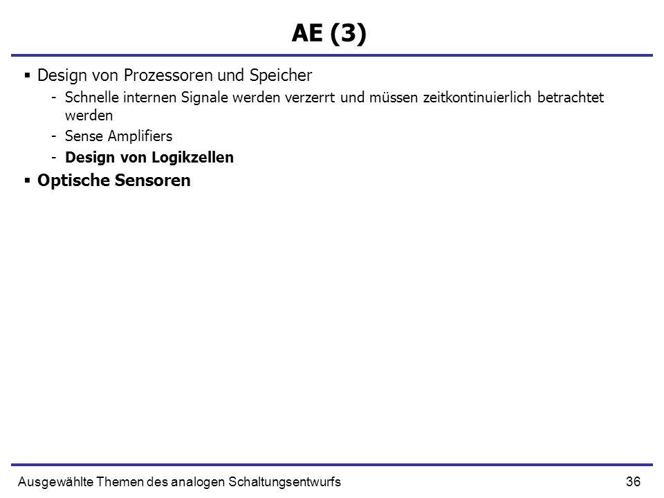 36Ausgewählte Themen des analogen Schaltungsentwurfs AE (3) Design von Prozessoren und Speicher -Schnelle internen Signale werden verzerrt und müssen