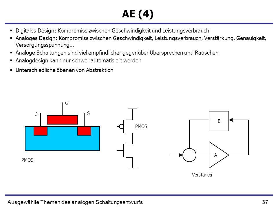 37Ausgewählte Themen des analogen Schaltungsentwurfs AE (4) Digitales Design: Kompromiss zwischen Geschwindigkeit und Leistungsverbrauch Analoges Desi