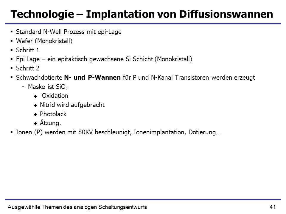 41Ausgewählte Themen des analogen Schaltungsentwurfs Technologie – Implantation von Diffusionswannen Standard N-Well Prozess mit epi-Lage Wafer (Monok