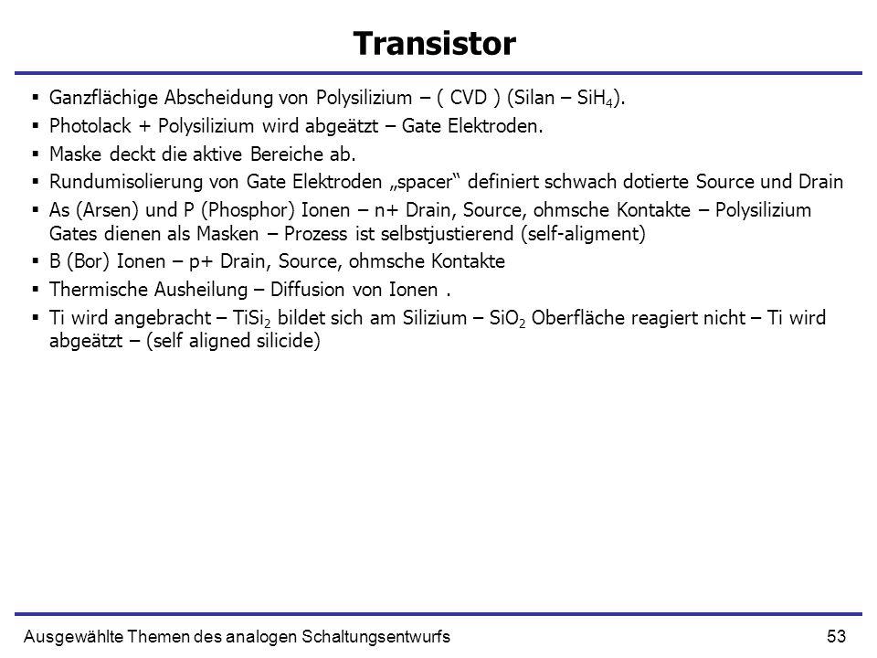 53Ausgewählte Themen des analogen Schaltungsentwurfs Transistor Ganzflächige Abscheidung von Polysilizium – ( CVD ) (Silan – SiH 4 ). Photolack + Poly