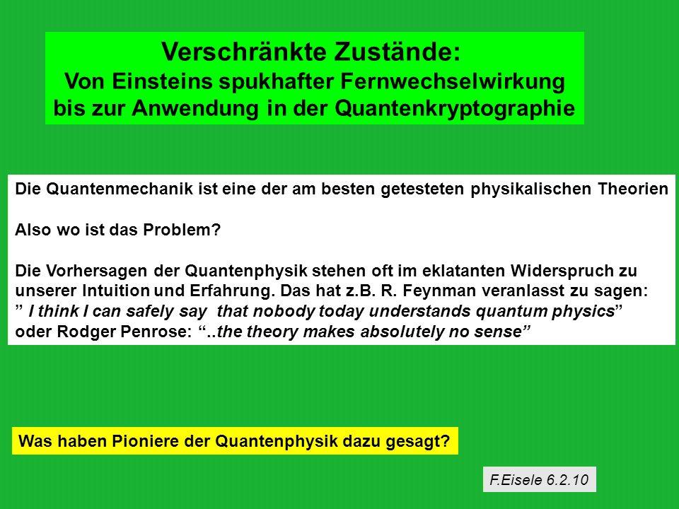 Verschränkte Zustände: Von Einsteins spukhafter Fernwechselwirkung bis zur Anwendung in der Quantenkryptographie Die Quantenmechanik ist eine der am b