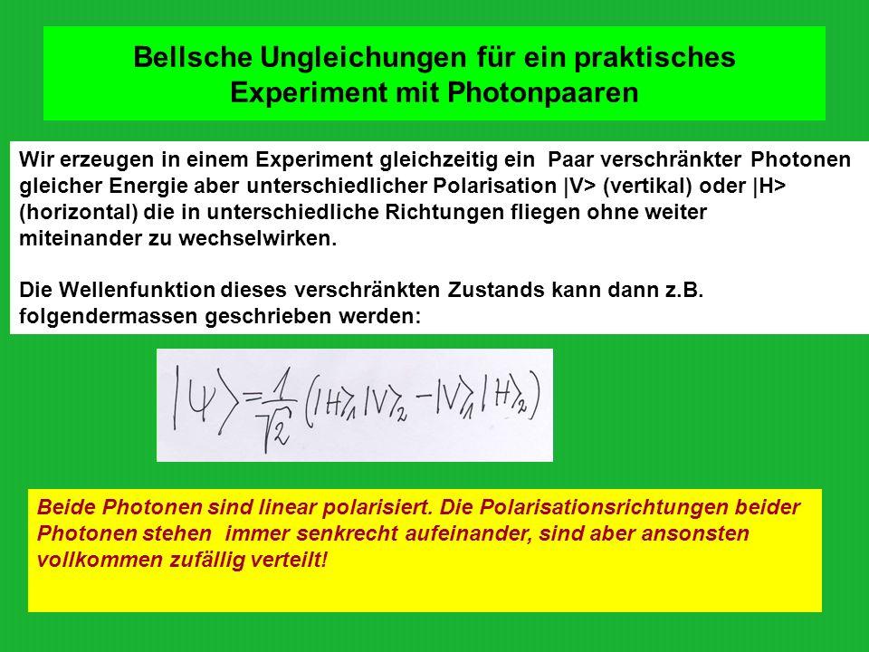 Bellsche Ungleichungen für ein praktisches Experiment mit Photonpaaren Wir erzeugen in einem Experiment gleichzeitig ein Paar verschränkter Photonen g