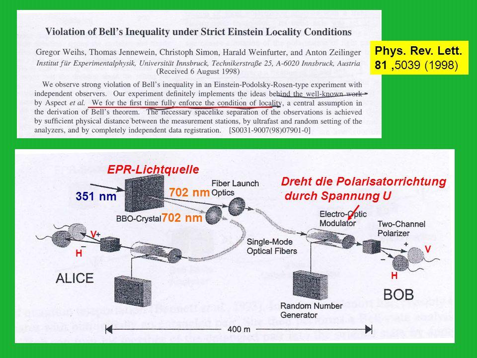 Phys. Rev. Lett. 81,5039 (1998) EPR-Lichtquelle Dreht die Polarisatorrichtung durch Spannung U V V H H 351 nm 702 nm
