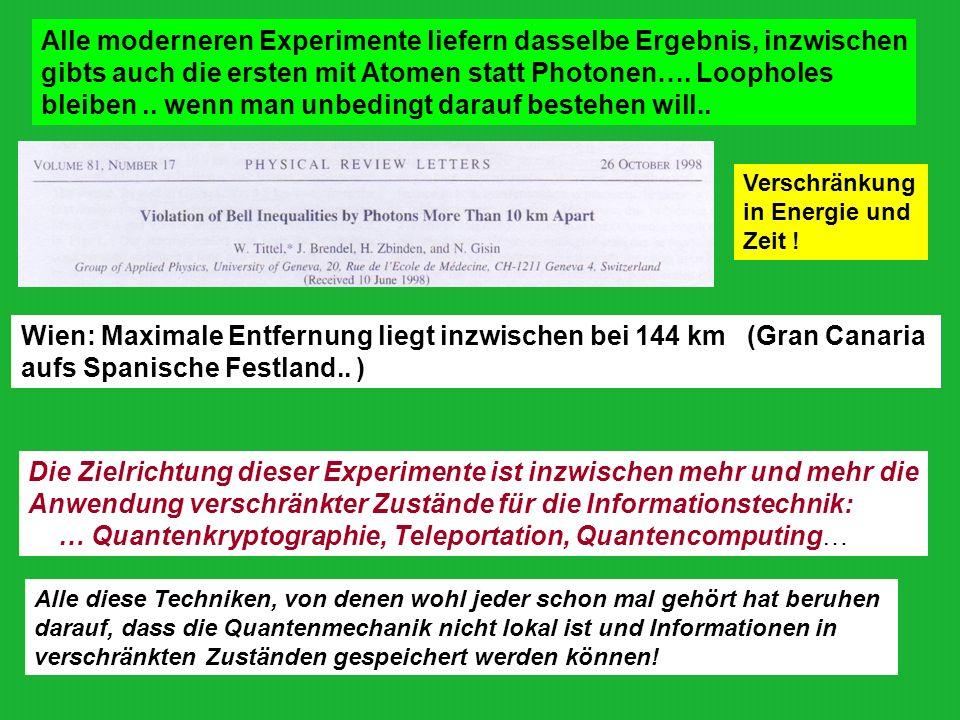 Alle moderneren Experimente liefern dasselbe Ergebnis, inzwischen gibts auch die ersten mit Atomen statt Photonen…. Loopholes bleiben.. wenn man unbed