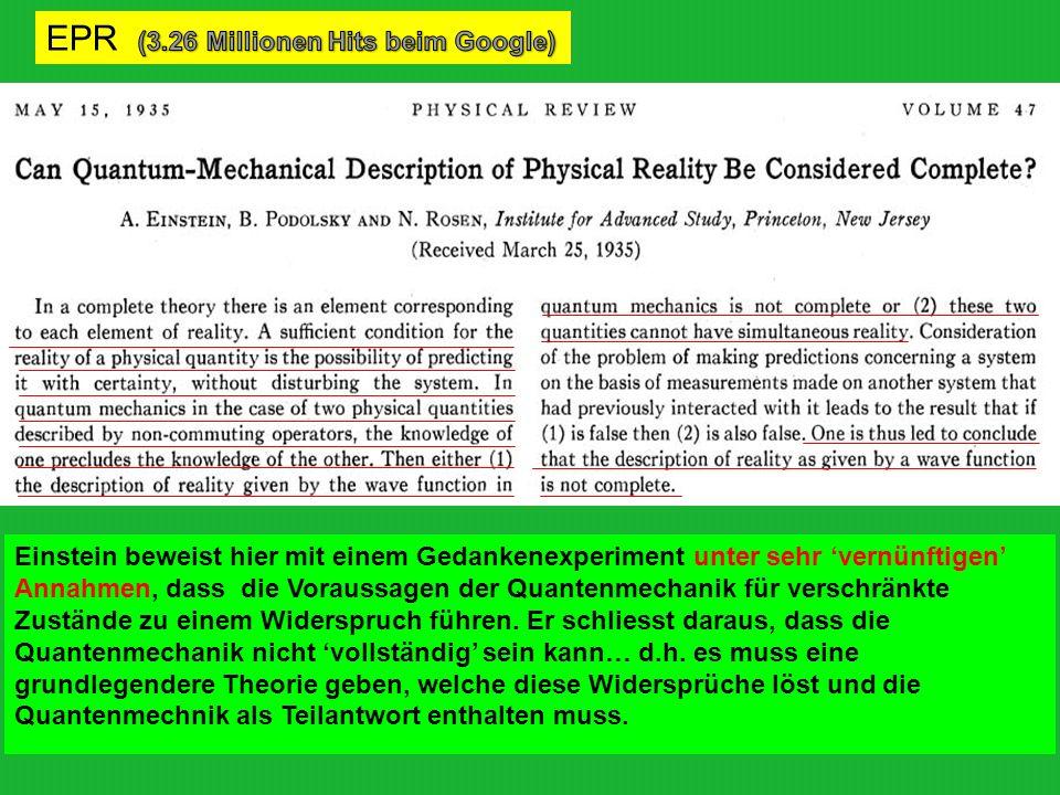 Erwin Schrödinger (1935): verschr ӓ nkte Systeme mit grossen Objekten Man kann auch ganz burleske Fälle konstruieren.