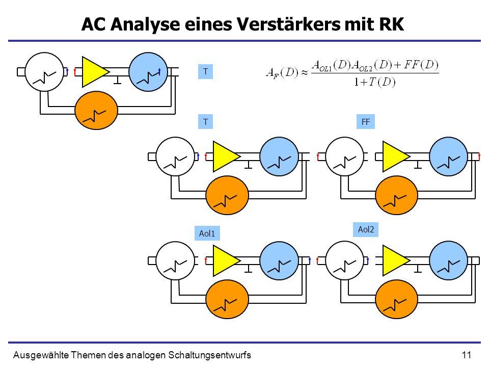 11Ausgewählte Themen des analogen Schaltungsentwurfs AC Analyse eines Verstärkers mit RK T TFF Aol2 Aol1