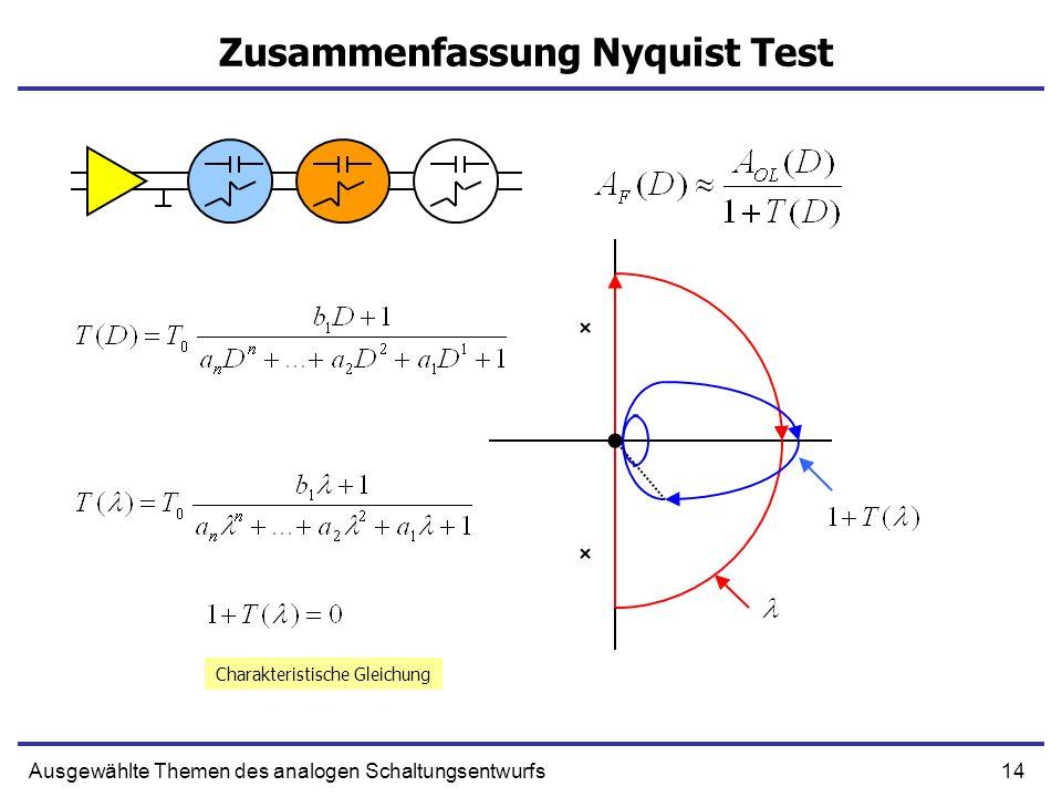 14Ausgewählte Themen des analogen Schaltungsentwurfs Zusammenfassung Nyquist Test Charakteristische Gleichung
