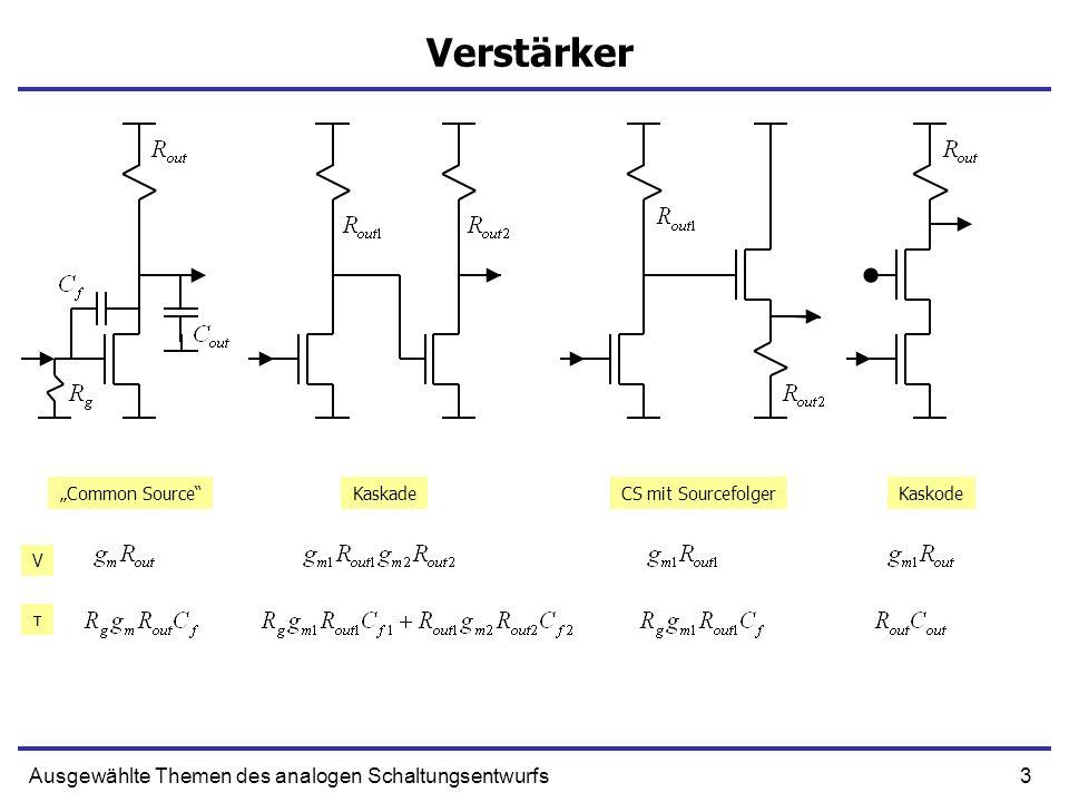 3Ausgewählte Themen des analogen Schaltungsentwurfs Verstärker Common SourceKaskadeCS mit SourcefolgerKaskode V τ
