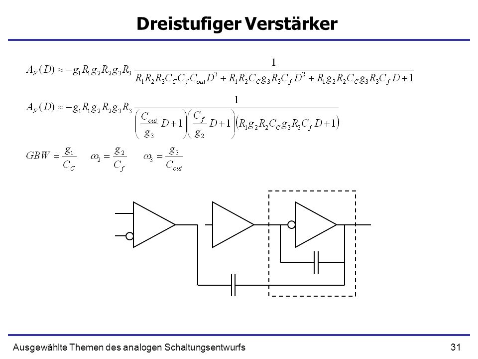 31Ausgewählte Themen des analogen Schaltungsentwurfs Dreistufiger Verstärker