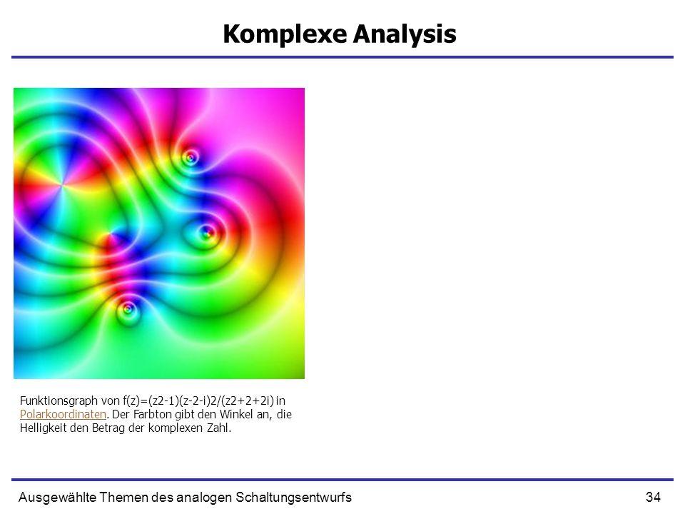 34Ausgewählte Themen des analogen Schaltungsentwurfs Komplexe Analysis Funktionsgraph von f(z)=(z2-1)(z-2-i)2/(z2+2+2i) in Polarkoordinaten. Der Farbt