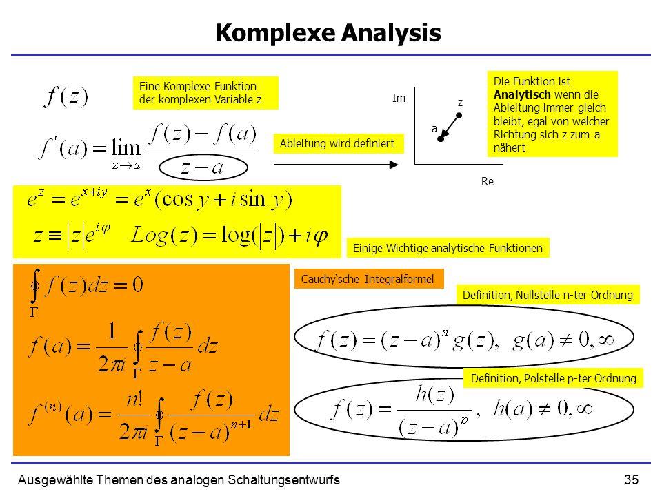 35Ausgewählte Themen des analogen Schaltungsentwurfs Komplexe Analysis a z Eine Komplexe Funktion der komplexen Variable z Ableitung wird definiert Di
