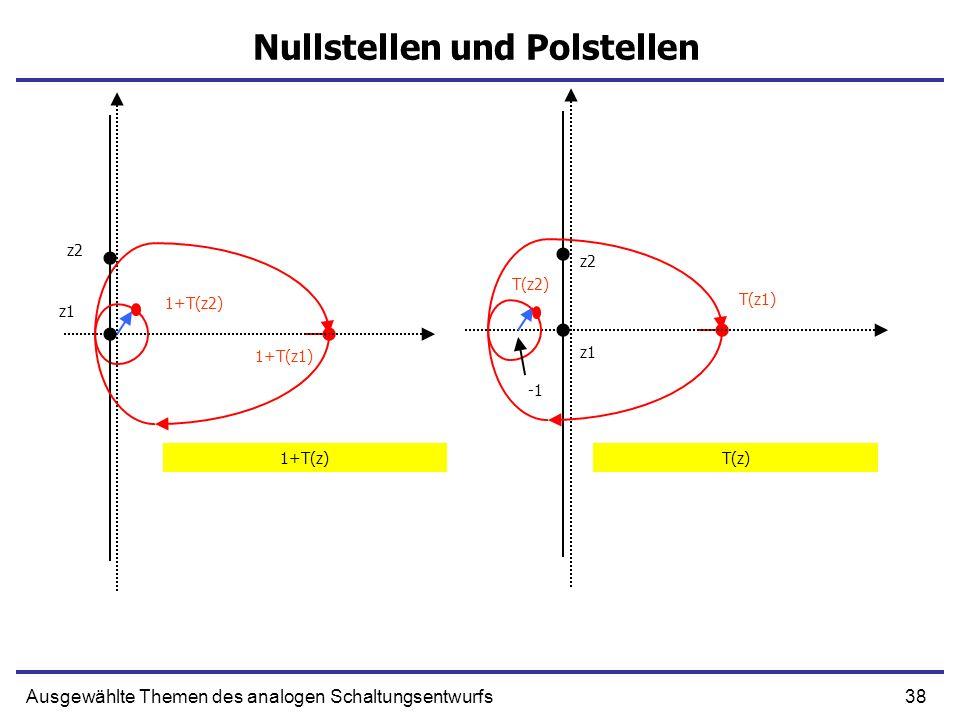 38Ausgewählte Themen des analogen Schaltungsentwurfs Nullstellen und Polstellen z1 1+T(z1) z2 1+T(z2) z1 T(z1) z2 T(z2) 1+T(z)T(z)