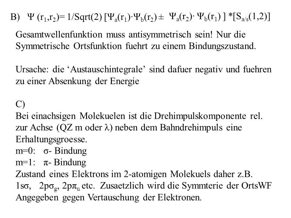 B) Ψ (r 1,r 2 )= 1/Sqrt(2) [Ψ a (r 1 )·Ψ b (r 2 ) ± Ψ a (r 2 )· Ψ b (r 1 ) ] *[S a/s (1,2)] Gesamtwellenfunktion muss antisymmetrisch sein.