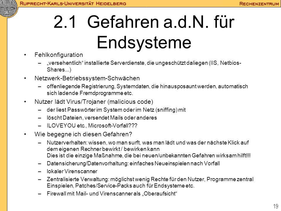 19 2.1 Gefahren a.d.N. für Endsysteme Fehlkonfiguration –versehentlich installierte Serverdienste, die ungeschützt daliegen (IIS, Netbios- Shares...)