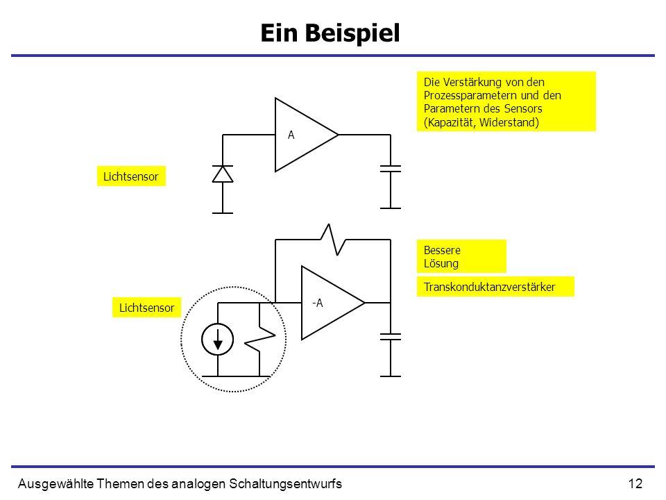 12Ausgewählte Themen des analogen Schaltungsentwurfs Ein Beispiel A -A Lichtsensor Die Verstärkung von den Prozessparametern und den Parametern des Se