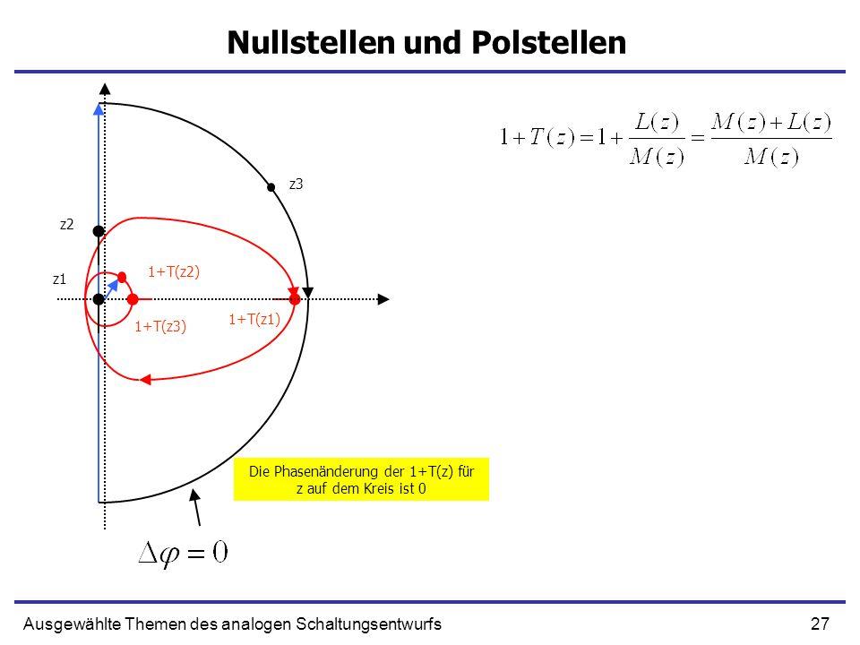 27Ausgewählte Themen des analogen Schaltungsentwurfs Nullstellen und Polstellen z1 1+T(z1) z2 1+T(z2) z3 1+T(z3) Die Phasenänderung der 1+T(z) für z a