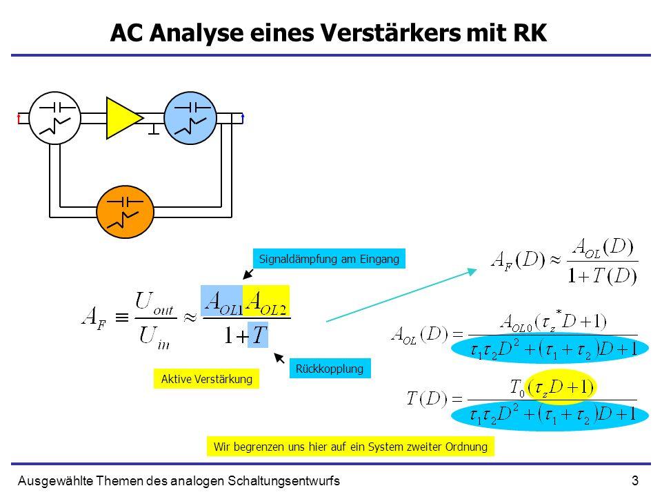 3Ausgewählte Themen des analogen Schaltungsentwurfs AC Analyse eines Verstärkers mit RK Signaldämpfung am Eingang Rückkopplung Aktive Verstärkung Wir