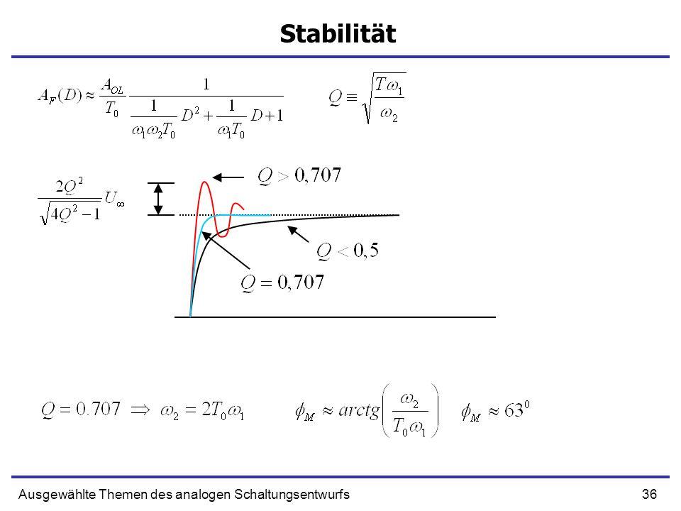 36Ausgewählte Themen des analogen Schaltungsentwurfs Stabilität