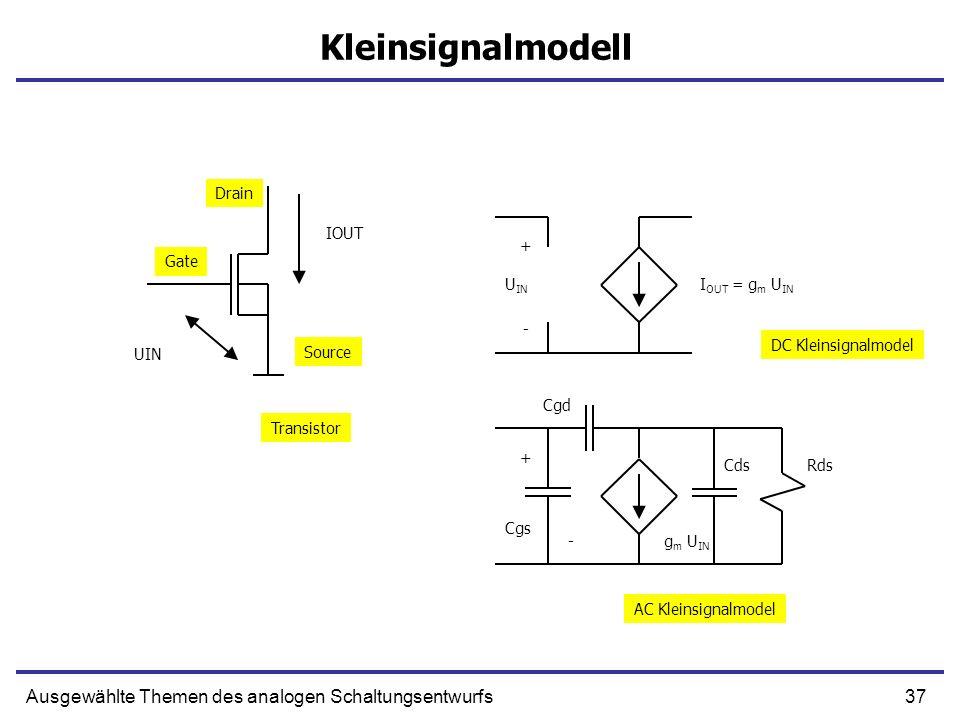 37Ausgewählte Themen des analogen Schaltungsentwurfs Kleinsignalmodell UIN IOUT + U IN I OUT = g m U IN + g m U IN Cgs Cgd CdsRds - - Transistor DC Kl