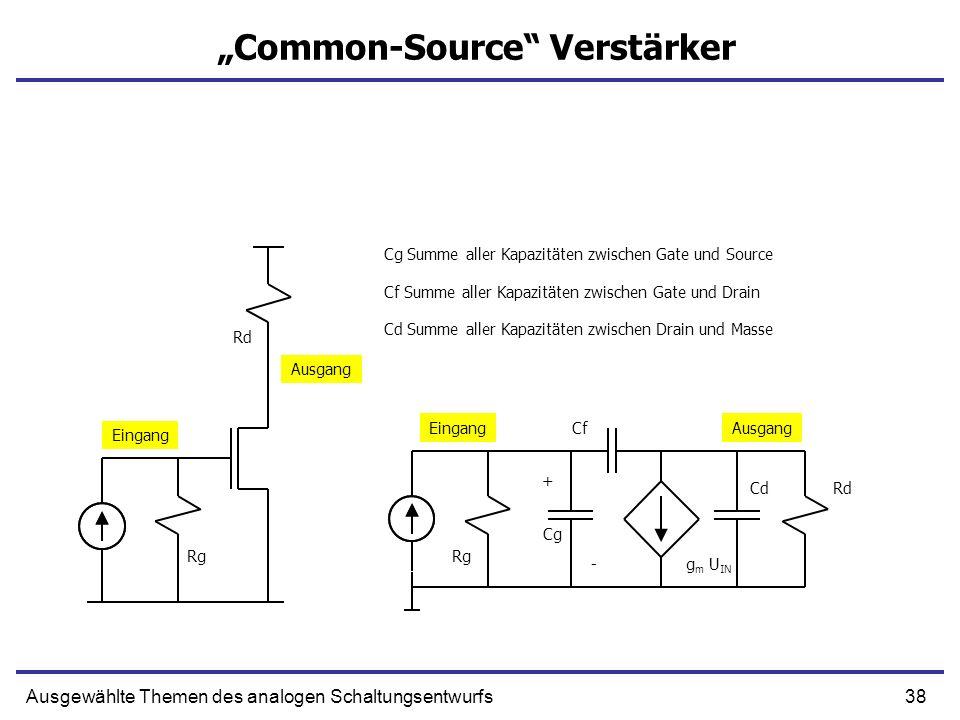 38Ausgewählte Themen des analogen Schaltungsentwurfs Common-Source Verstärker + g m U IN Cg Summe aller Kapazitäten zwischen Gate und Source Cf CdRd R