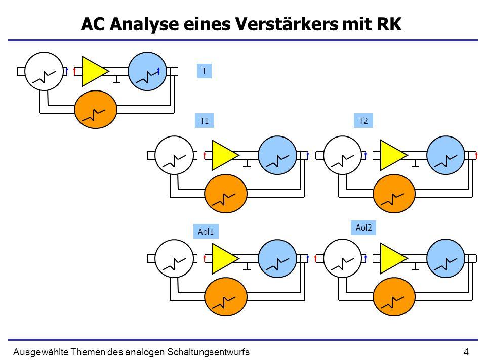4Ausgewählte Themen des analogen Schaltungsentwurfs AC Analyse eines Verstärkers mit RK T T1T2 Aol2 Aol1