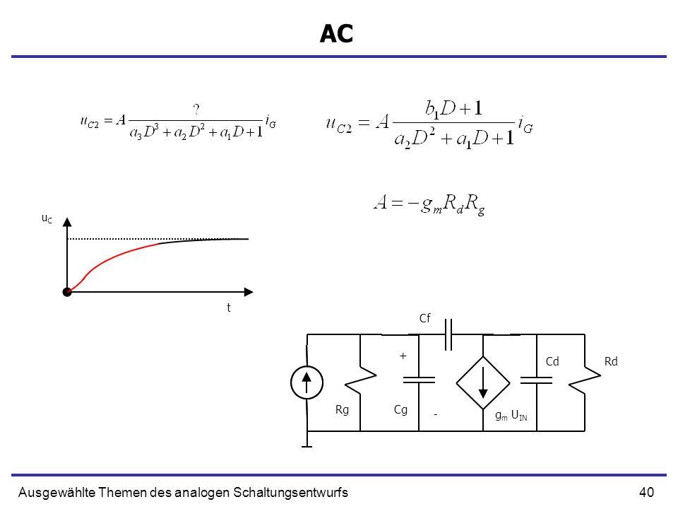 40Ausgewählte Themen des analogen Schaltungsentwurfs AC + g m U IN Cg Cf CdRd Rg - uCuC t