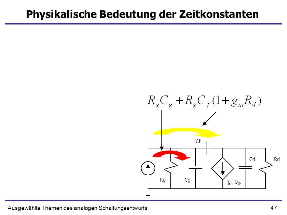47Ausgewählte Themen des analogen Schaltungsentwurfs Physikalische Bedeutung der Zeitkonstanten g m U IN Cg Cf CdRd Rg