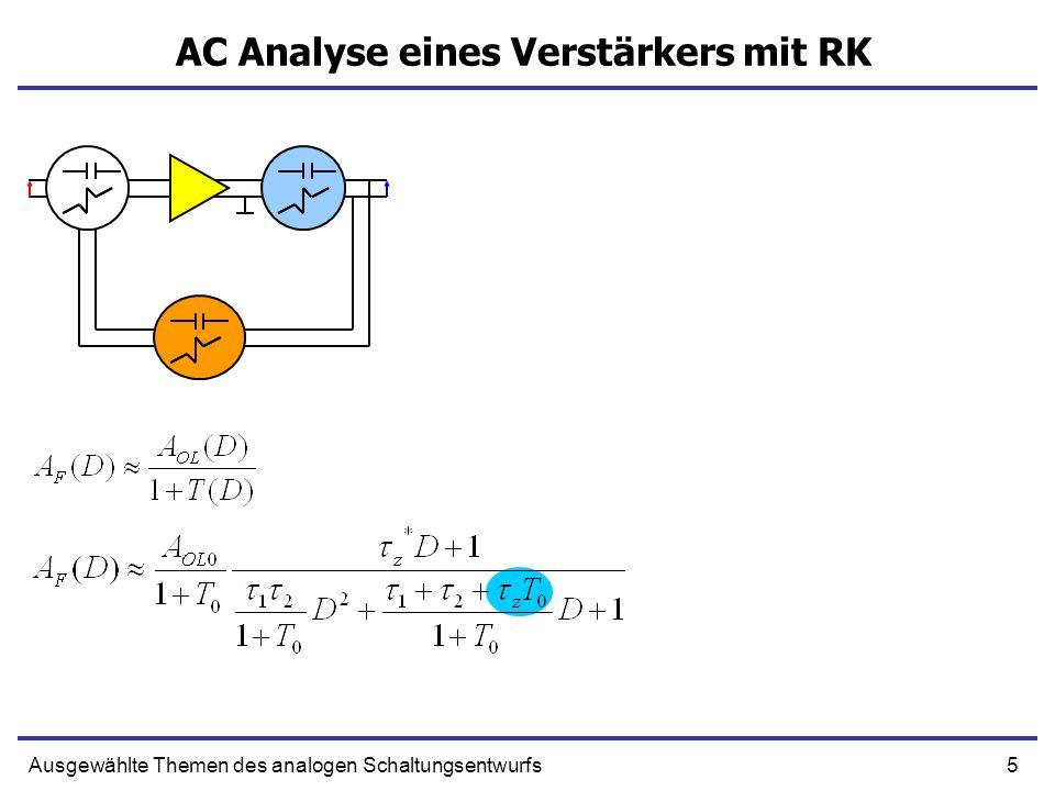 26Ausgewählte Themen des analogen Schaltungsentwurfs Nullstellen und Polstellen z1f(z1) z2 f(z2) z3 f(z3) Cauchy Einige Definitionen Nullstelle Polstelle Es folgt: Anzahl von Nullstellen – Anzahl von Polstellen der Funktion f(z) innerhalb Kontur Γ Anzahl von Umdrehungen des Phasenvektors um 0 ist N-Z Das Integral ist die Phasenänderung der Funktion f(z) während der Integration auf Kontur Γ