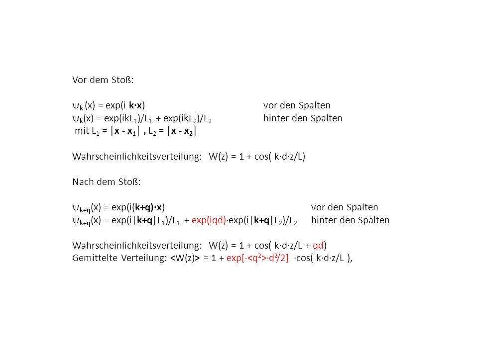 Vor dem Stoß: k (x) = exp(i kx) vor den Spalten k (x) = exp(ikL 1 )/L 1 + exp(ikL 2 )/L 2 hinter den Spalten mit L 1 =  x - x 1  , L 2 =  x - x 2   Wa