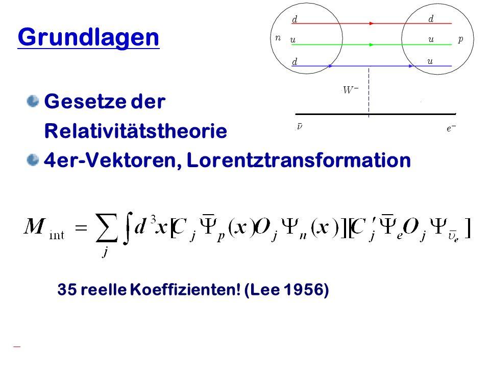 Hartmut Abele, University of Heidelberg 12 Grundlagen Gesetze der Relativitätstheorie 4er-Vektoren, Lorentztransformation 35 reelle Koeffizienten! (Le