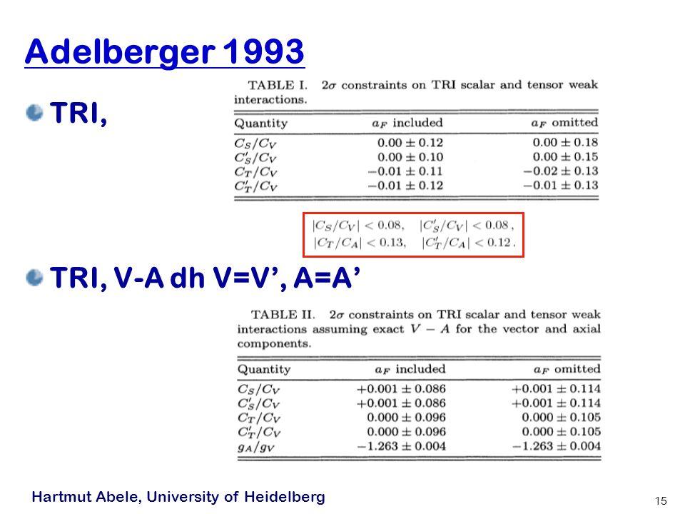 Hartmut Abele, University of Heidelberg 15 Adelberger 1993 TRI, TRI, V-A dh V=V, A=A