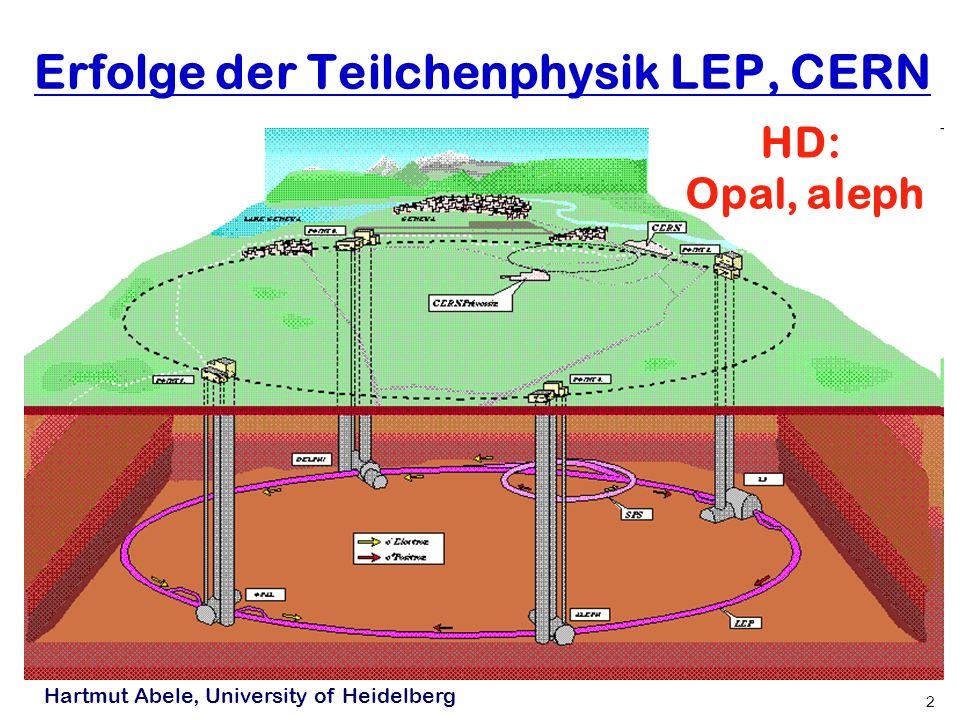 Hartmut Abele, University of Heidelberg 2 Erfolge der Teilchenphysik LEP, CERN HD: Opal, aleph
