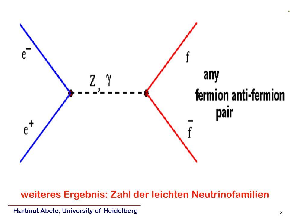 Hartmut Abele, University of Heidelberg 3 weiteres Ergebnis: Zahl der leichten Neutrinofamilien