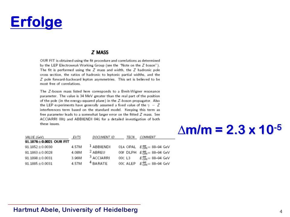 Hartmut Abele, University of Heidelberg 4 Erfolge m/m = 2.3 x 10 -5 m/m = 2.3 x 10 -5