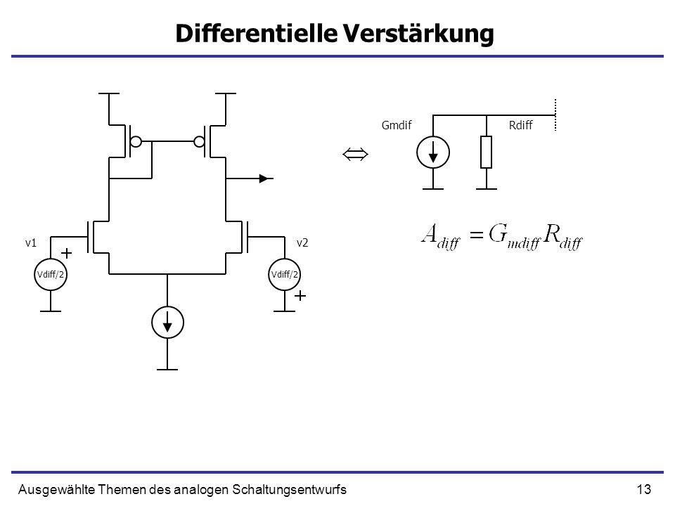 13Ausgewählte Themen des analogen Schaltungsentwurfs Differentielle Verstärkung Vdiff/2 v1v2 GmdifRdiff