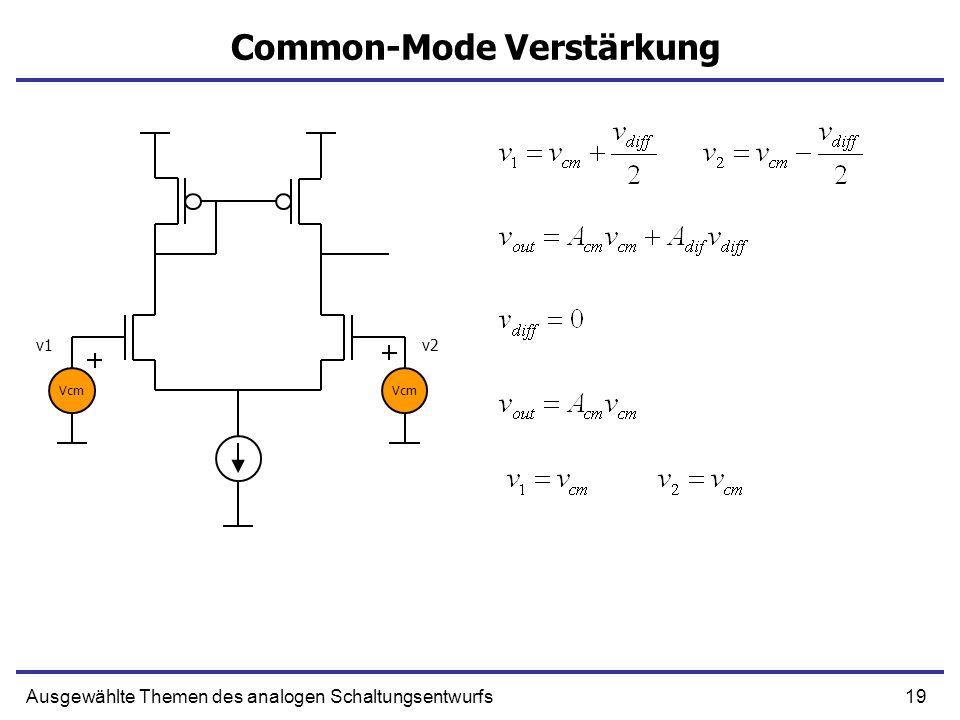 19Ausgewählte Themen des analogen Schaltungsentwurfs Common-Mode Verstärkung Vcm v1v2