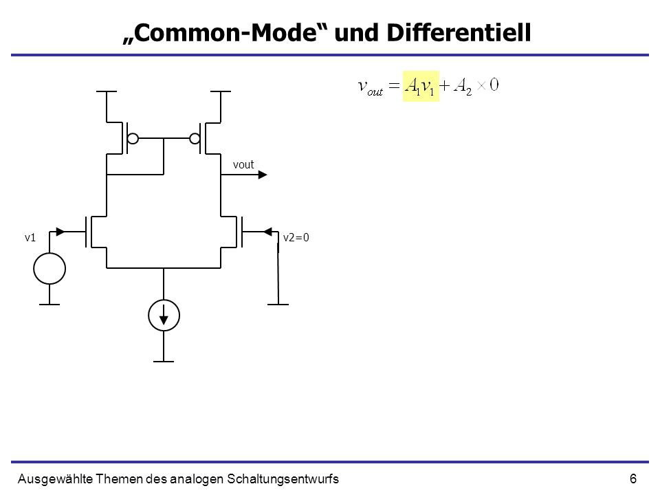 17Ausgewählte Themen des analogen Schaltungsentwurfs Differentieller Widerstand 1/gm