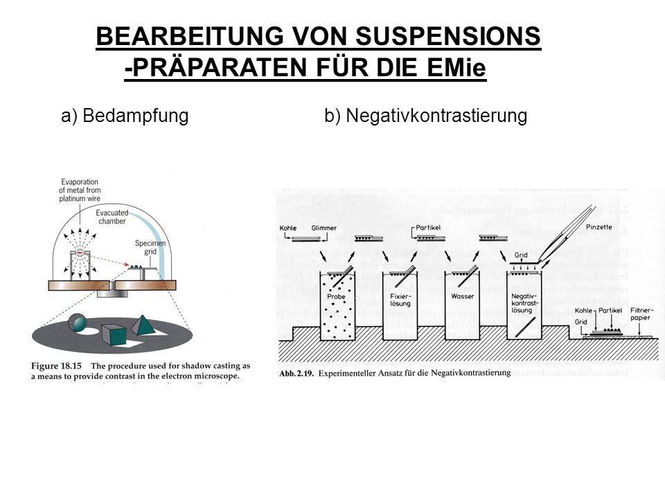 BEARBEITUNG VON SUSPENSIONS -PRÄPARATEN FÜR DIE EMie a) Bedampfung b) Negativkontrastierung