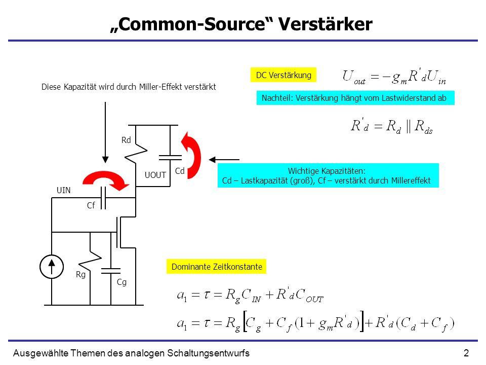 2Ausgewählte Themen des analogen Schaltungsentwurfs Common-Source Verstärker UIN UOUT DC Verstärkung Dominante Zeitkonstante Wichtige Kapazitäten: Cd