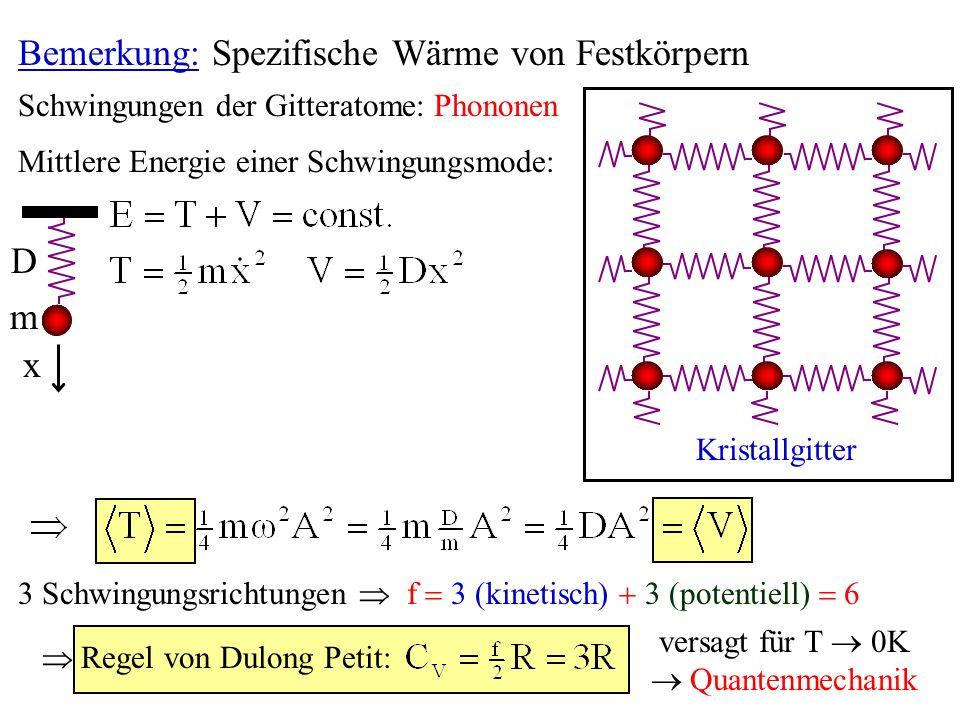 Bemerkung: Spezifische Wärme von Festkörpern Schwingungen der Gitteratome: Phononen Kristallgitter 3 Schwingungsrichtungen f 3 (kinetisch) 3 (potentie