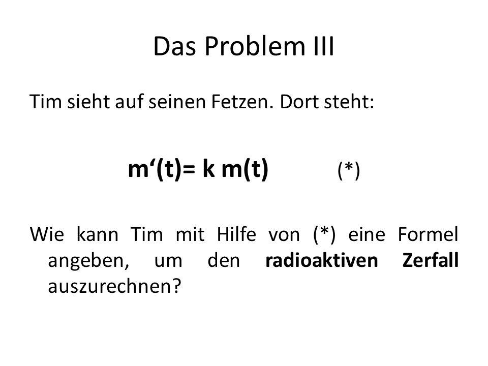 Das Problem III Tim sieht auf seinen Fetzen.
