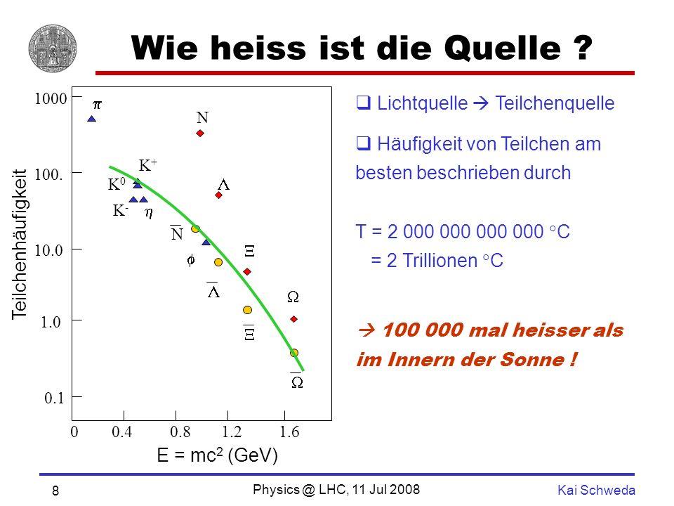 Physics @ LHC, 11 Jul 2008 Kai Schweda 8 Wie heiss ist die Quelle .