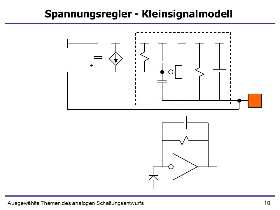 10Ausgewählte Themen des analogen Schaltungsentwurfs Spannungsregler - Kleinsignalmodell + -