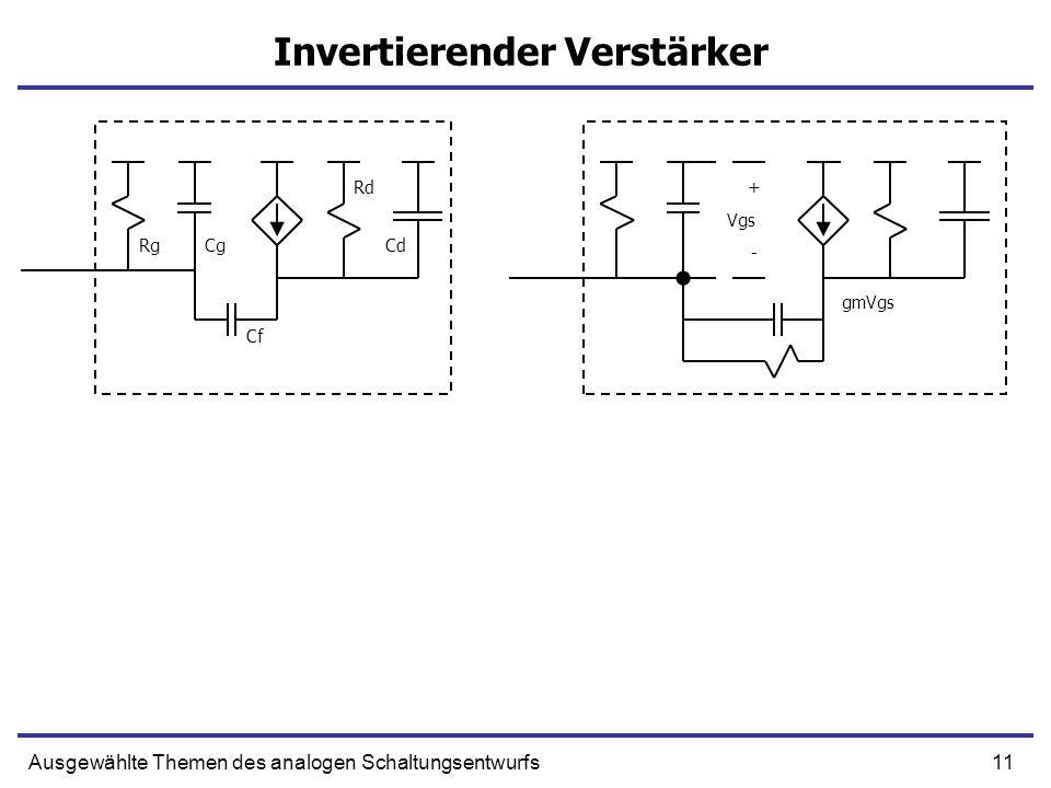 11Ausgewählte Themen des analogen Schaltungsentwurfs Invertierender Verstärker + - RgCg Cf Cd Rd Vgs gmVgs