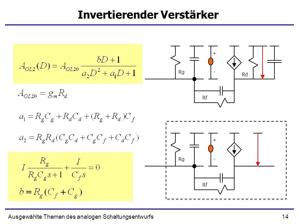 14Ausgewählte Themen des analogen Schaltungsentwurfs Invertierender Verstärker + -Rg Rf Rd + -Rg Rf