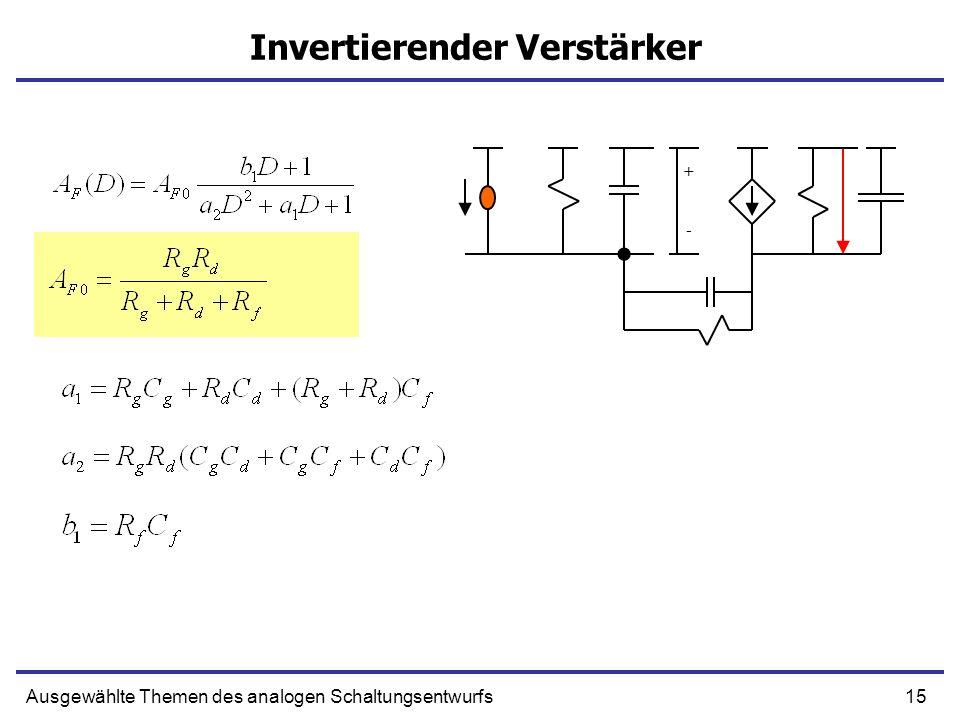 15Ausgewählte Themen des analogen Schaltungsentwurfs Invertierender Verstärker + -