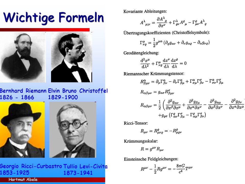 Hartmut Abele 10 Wichtige Formeln Bernhard Riemann 1826 - 1866 Georgio Ricci-Curbastro 1853-1925 Elvin Bruno Christoffel 1829-1900 Tullio Levi-Civita 1873-1941