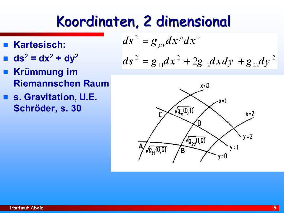 Hartmut Abele 9 Koordinaten, 2 dimensional n Kartesisch: n ds 2 = dx 2 + dy 2 n Krümmung im Riemannschen Raum n s.