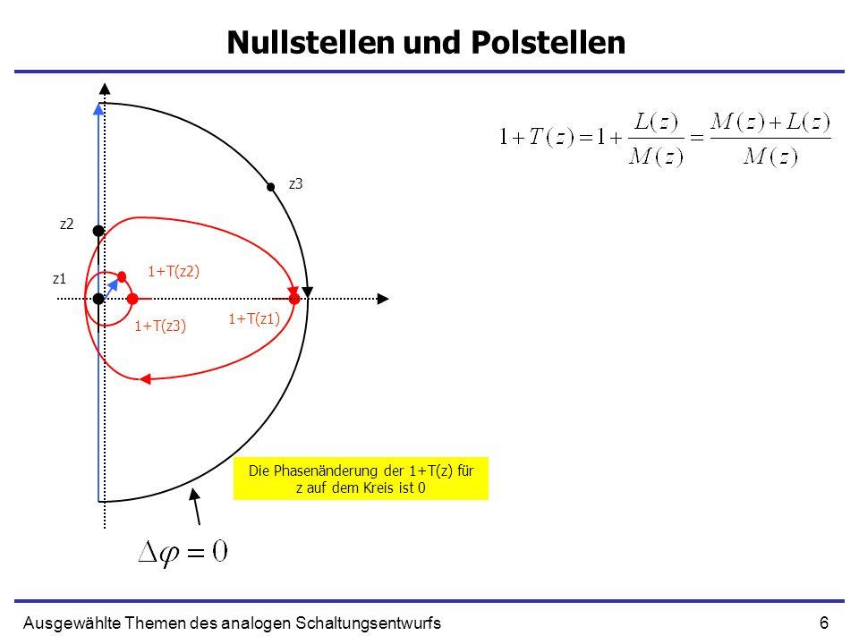 6Ausgewählte Themen des analogen Schaltungsentwurfs Nullstellen und Polstellen z1 1+T(z1) z2 1+T(z2) z3 1+T(z3) Die Phasenänderung der 1+T(z) für z au